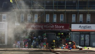 The fire at Welling Home Store in south-east London