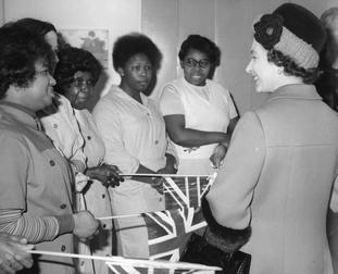 The Queen talks to hospital workers at St Thomas' Hospital