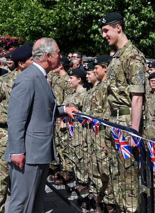 The Prince of Wales spoke to members of the armed forces