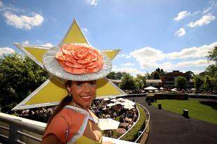 Tracy Rose wearing a striking hat at Royal Ascot