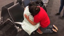 Emotional reunion of mother and son separated at US border