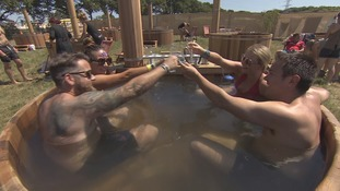 Hot tubs proving popular to relax in at the festival