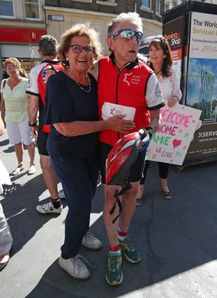 Paul with his wife Nili outside Liverpool Street station after he finished the Kindertransport Commemorative Cycle: Berlin to London
