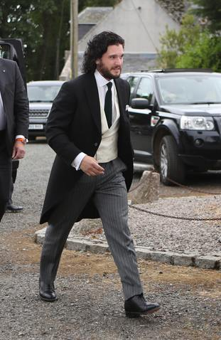 Game of Thrones star Kit Harington, who plays Jon Snow, arrives at Rayne Church in Aberdeenshire for his wedding