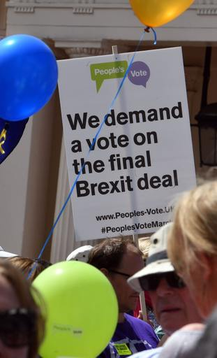 Protesters want a say on whether to accept the Brexit terms the Government comes back with
