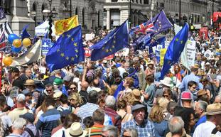 EU flags are waved by marchers