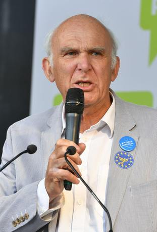 Liberal Democrat leader Vince Cable addresses the crowd in Parliament Square