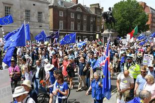 Crowds on Whitehall in central London