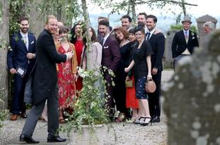 Guests pose for a group photograph