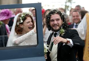 The loved-up pair looked happy as they got into the wedding car