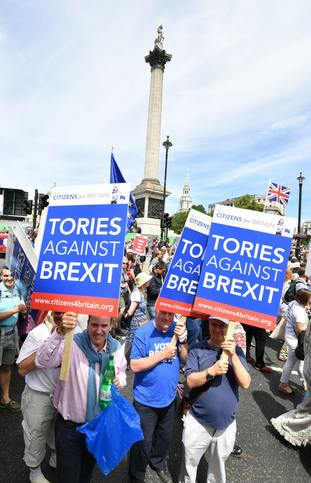 Crowds taking part in the People's Vote march for a second EU referendum at Trafalgar Square in central London