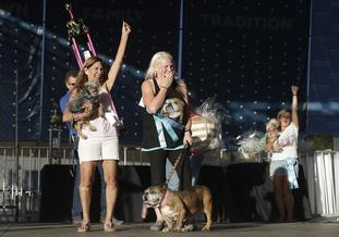 Megan Brainard, after her dog Zsa Zsa is announced the winner of the World's Ugliest Dog Contest