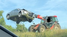 Farmer disposes of car found crashed into his field