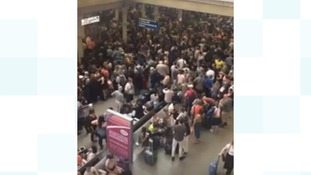 Huge crowds wait at St Pancras