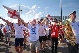 England fans in Nizhny Novgorod celebrate after their match against Panama