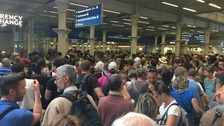 Huge crowds at St Pancras International as services face disruption.