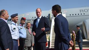 The Duke of Cambridge arrives in Jordan.