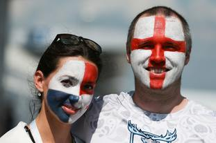 Fans of England and Panama have met in Nizhny Novgorod ahead of their World Cup group match