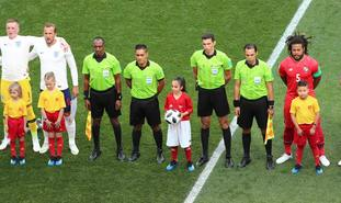 One of the biggest fans in Russia was Alysia Singh, 8, from Huddersfield, who got to carry the ball onto the pitch