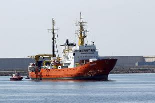 The Aquarius, carrying African migrants, after its arrival at the eastern port of Valencia