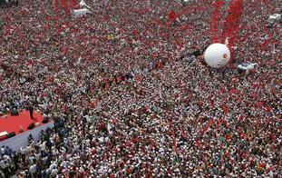 Large crowds of opposition supporters gathered in Istanbul on Saturday