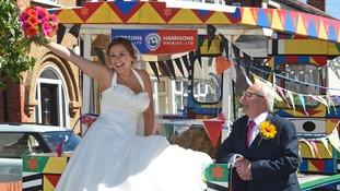 bride in milk float