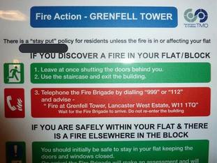 A Fire Action sign inside the 24-storey Grenfell Tower in west London