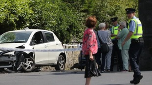 A damaged vehicle in the grounds of the Church of the Immaculate Conception in Clondalkin, south Dublin