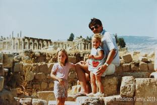 The future Duchess of Cambridge, then aged four, with her father Michael Middleton and sister Pippa in Jerash, Jordan