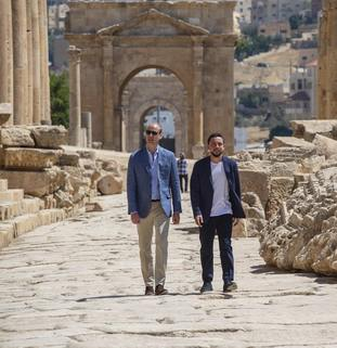William and Crown Prince Hussein walk in the ruins at Jerash