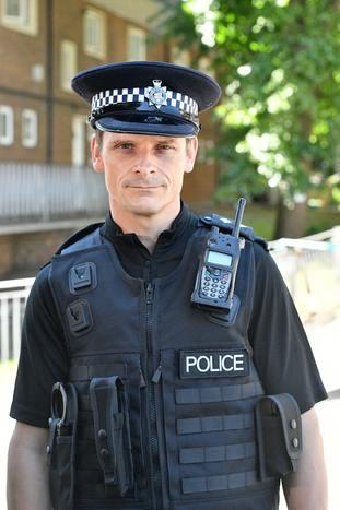 Inspector Martin Rowland at the scene on Prewett Street