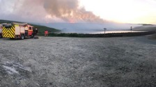The fire near Stalybridge has been burning on and off for two days