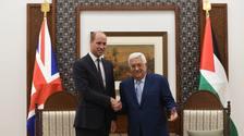 The Duke of Cambridge meets Palestinian Authority president Mahmoud Abbas in Ramallah.