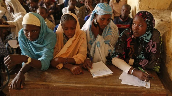 Girls listen to their teacher as schools reopen in Timbuktu
