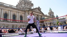 Michael Conlan in the ring outside Belfast City Hall