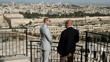 The Duke of Cambridge overlooks the Old City from Jerusalem's Mount of Olives.