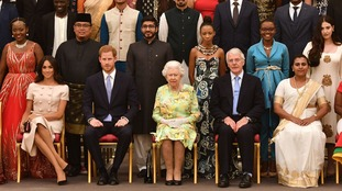 The Queen was joined at the Young Leaders' awards by the Duke and Duchess of Sussex.