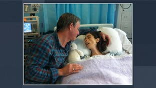 Averil Hart with her father Nic in hospital.