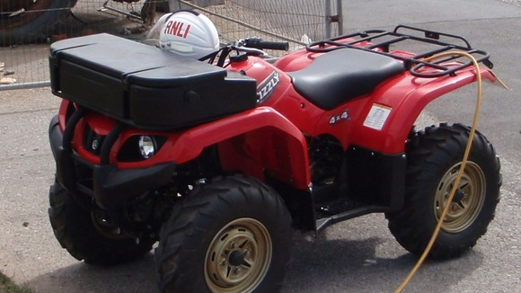 One of the RNLI's Yamaha Grizzly 350cc quad bikes
