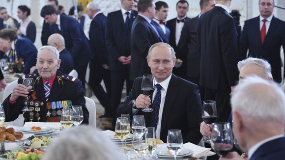 Russia&#x27;s President Vladimir Putin at a reception in honour of the Battle of Stalingrad in Moscow on Friday.
