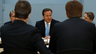 The Prime Minister pictured chairing a regional cabinet meeting in Leeds last month.