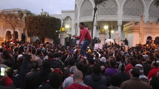 Protesters chant anti-Mursi slogans.