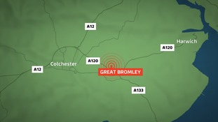 A bus and lorry have crashed on the A120 near Colchester.