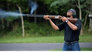 The White House says the photo was taken at Camp David in August 2012