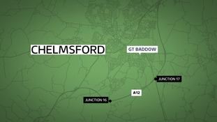 Hay bales have caught fire closing the A12 near Chelmsford.
