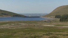 The water level is down at Spelga Dam.