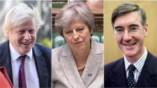 Boris Johnson (left) tweeted his support of Jacob Rees-Mogg after the arch-Brexiteer had issued a warning to Theresa May.