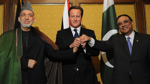 Prime Minister David Cameron with Pakistani President Asif Ali Zardari (right) and Afghan President Hamid Karzai last year.