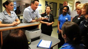 Prime Minister David Cameron meets nurses during a visit to Royal Derby Hospital last month.
