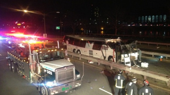 The scene of the bus crash in Boston.